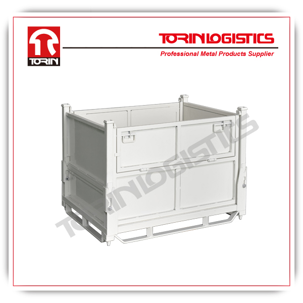 Powder coating foldable steel mesh stillage container (L1000*W800 mm/OEM)