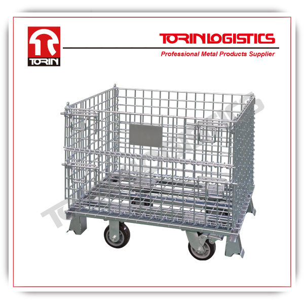 folding and stackable metal pallet with wheels (L800*W600 mm/OEM)